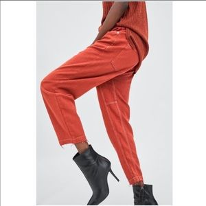 Zara high waist tapered pants in brick red